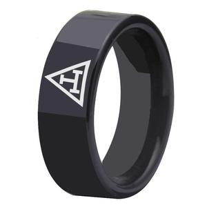 Royal Arch Black Pipe Masonic Ring Tungsten Ring Free Engraving