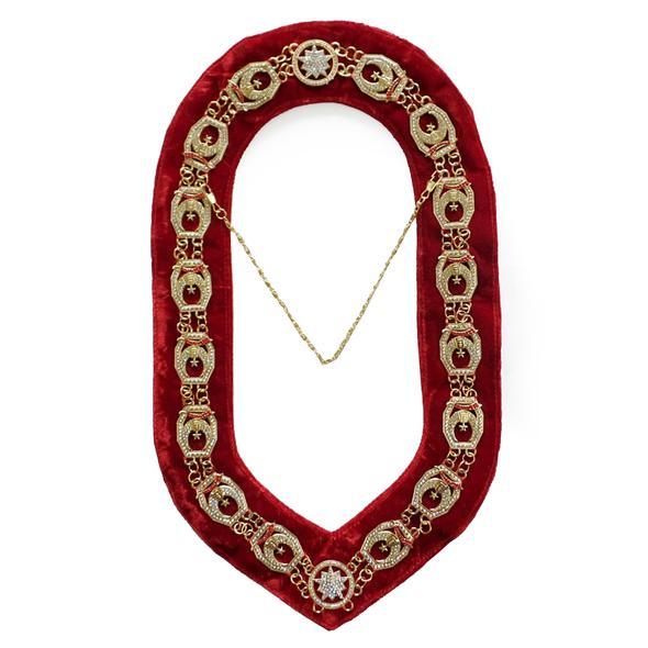 Shriner - Masonic Rhinestone Chain Collar - Gold/Silver on Red + Free Case