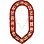 Shriner - Masonic Chain Collar - Gold/Silver on Red + Free Case