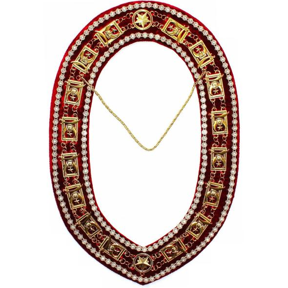 Shriner - Masonic Rhinestone Around Chain Collar - Gold/Silver on Red + Free Case